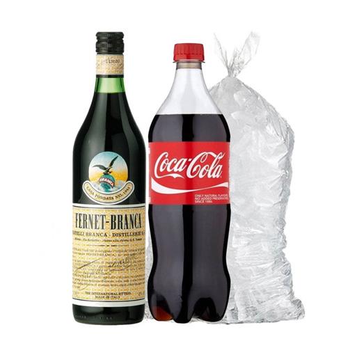 1 Fernet Branca 750ml + 1 Coca 1,5lt + Hielo 2kg