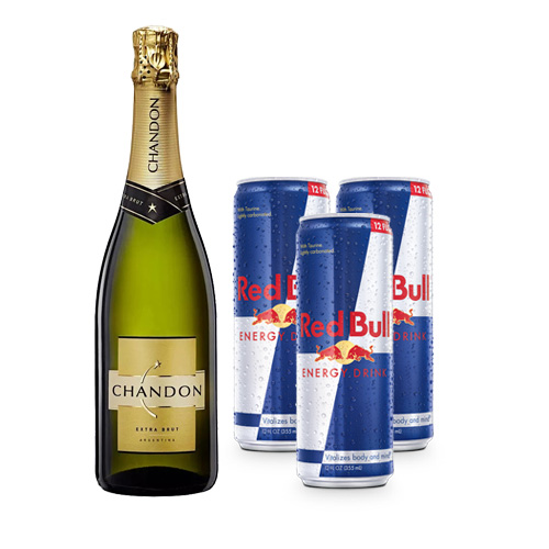 Chandon Extra Brut + 3 latas de Red Bull