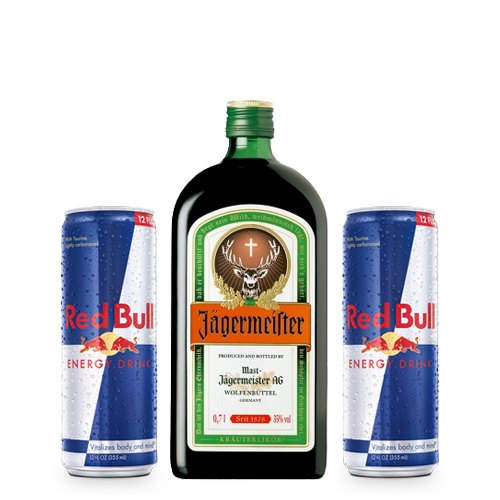 Jagermeister 700cc + 2 latas Red Bull 250 cc