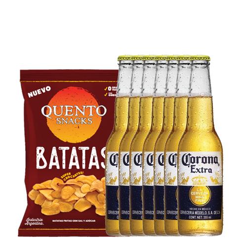 Six Pack Corona Porron 330 cc + Batatas Fritas Quento 130 gr